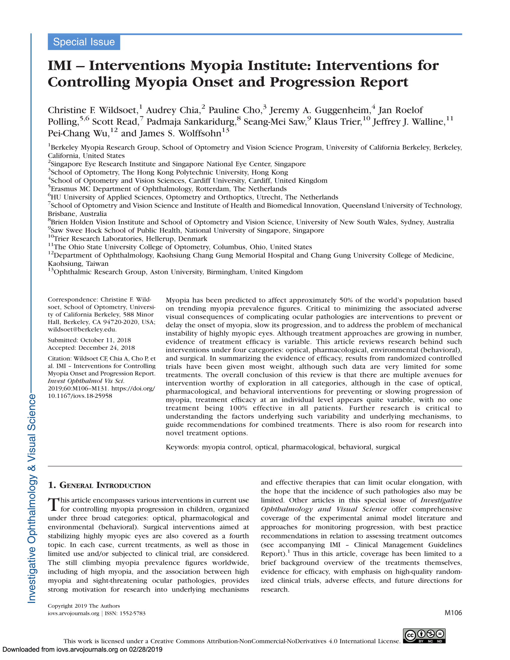 IMI – Interventions Myopia Institute- Interventions for Controlling Myopia Onset and Progression Report-01